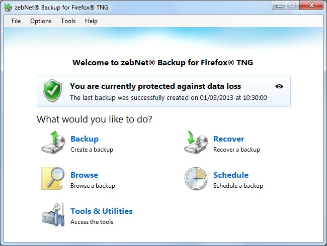 zebNet Backup for Firefox TNG