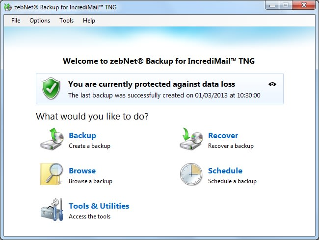 zebNet Backup for IncrediMail TNG