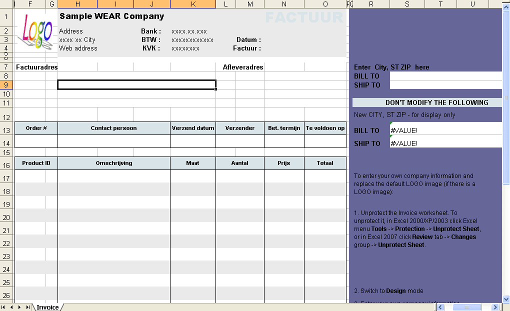 Excel Invoice Template Download - How to design an invoice in excel