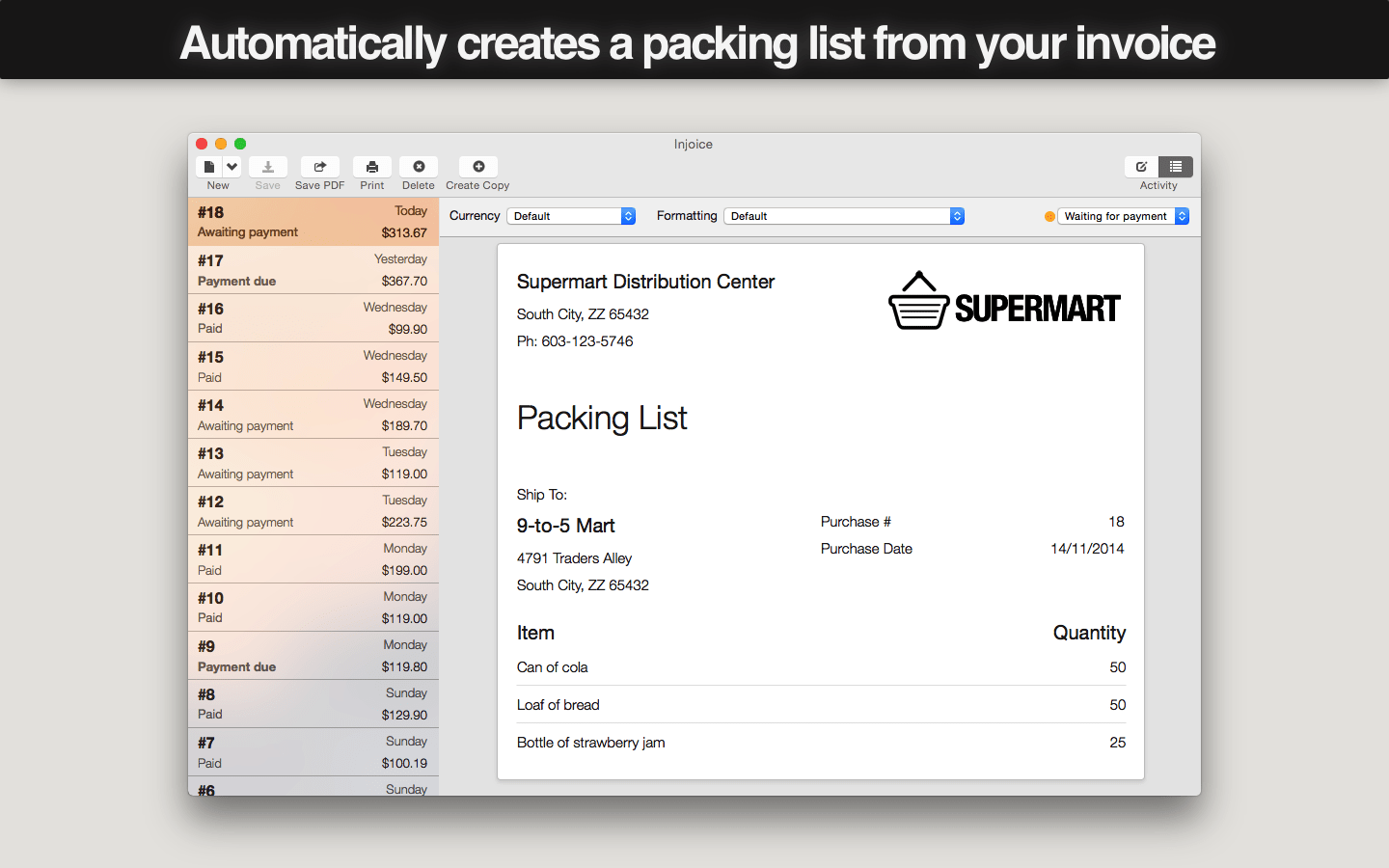 Injoice - Invoice and Packing List