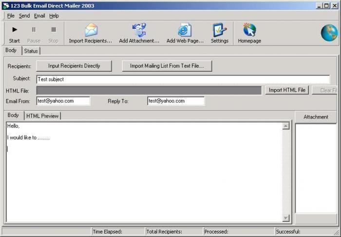 123 Bulk Email Direct Sender