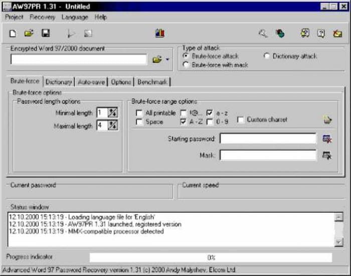 Advanced Word 97 Password Recovery