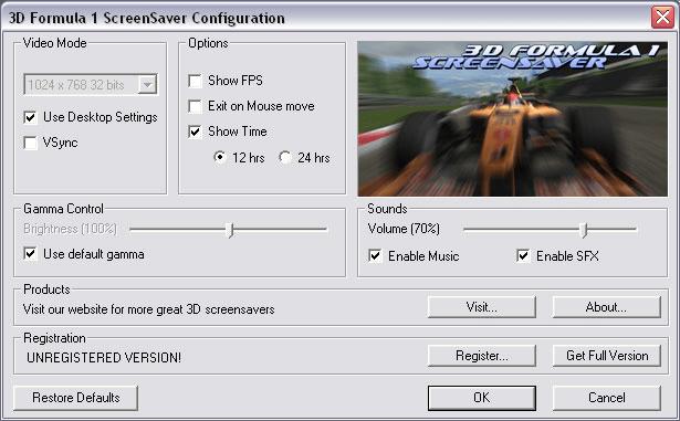 Formula 1 Screensaver