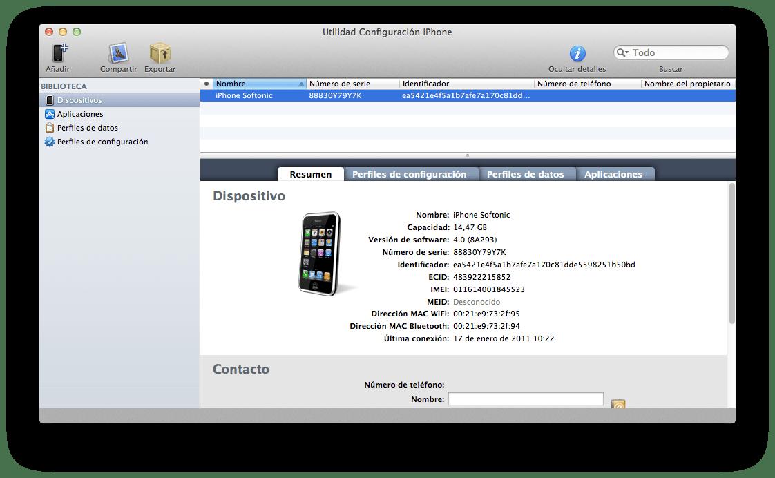 Utility di configurazione iPhone