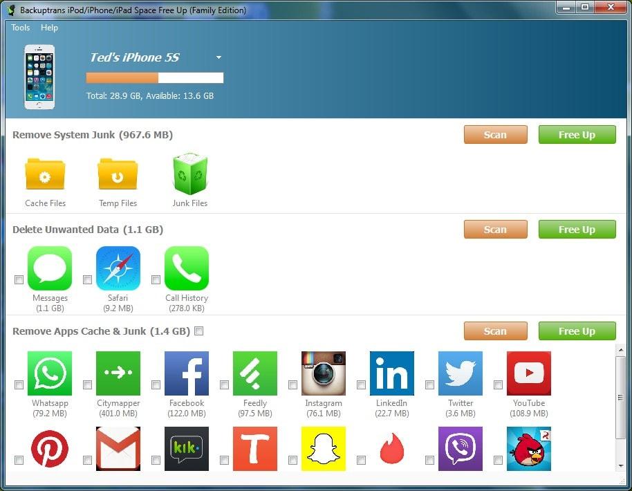 Backuptrans iPod/iPhone/iPad Space Free Up