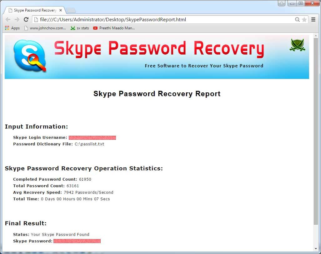 Skype Password Recovery