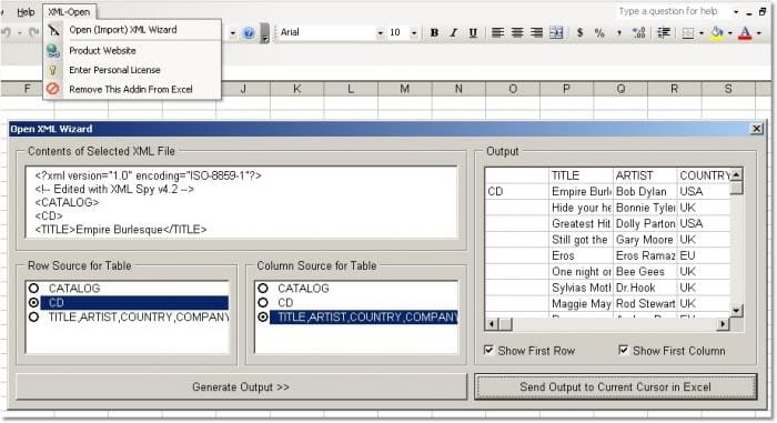 Excel XML Open & Import Software