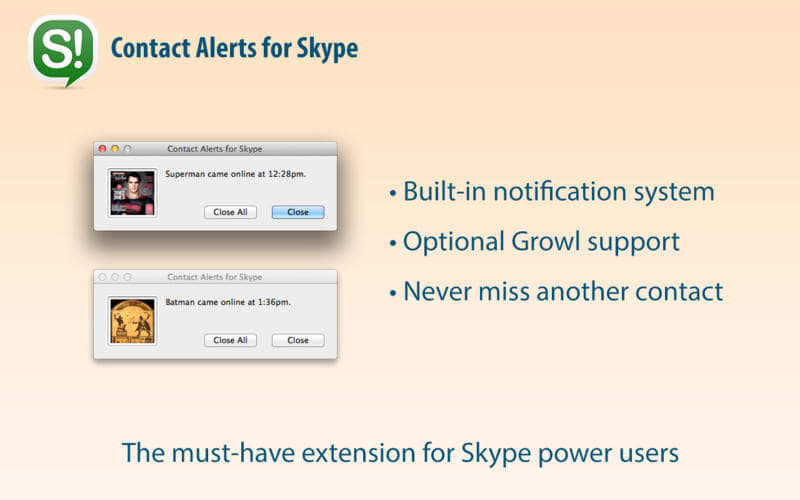 Contact Alerts for Skype