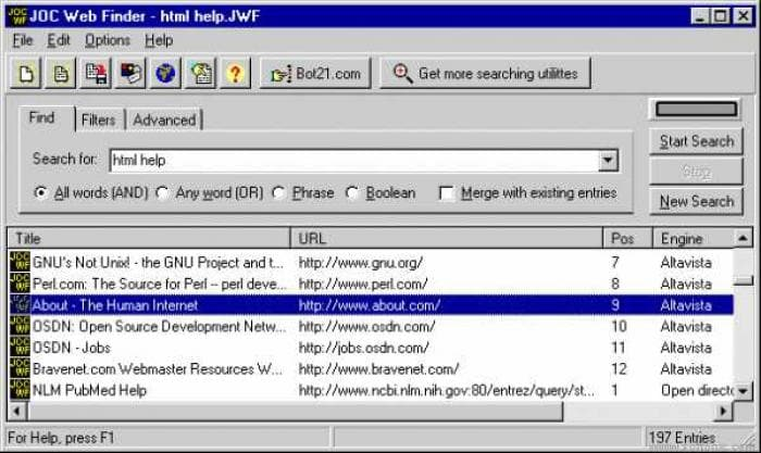 JOC Web Finder