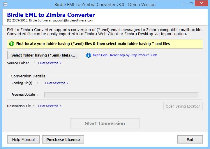 Birdie EML to Zimbra Converter