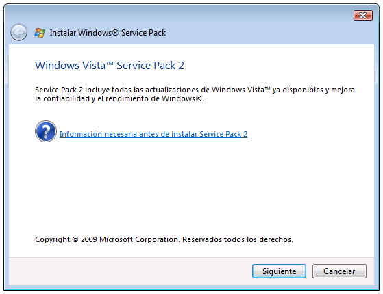Service Pack 2 para Windows Vista