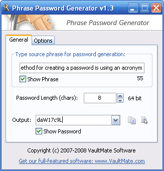 Phrase Password Generator