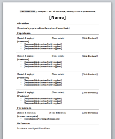 Curriculum Vitae Cronologico in PDF