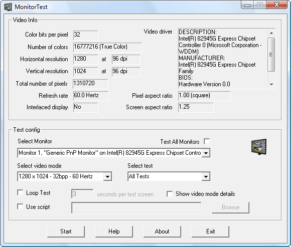 Passmark MonitorTest