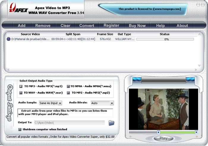 Apex Video to MP3 WMA WAV Converter