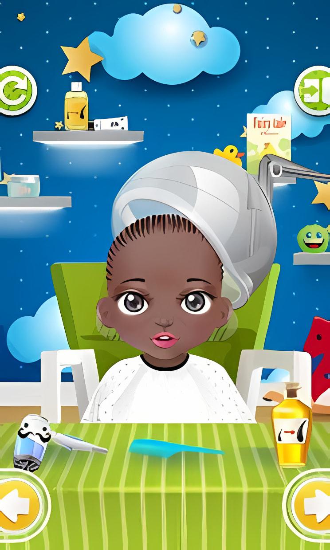 Baby waschen, Friseursalon