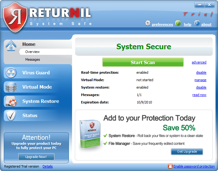 Returnil System Safe