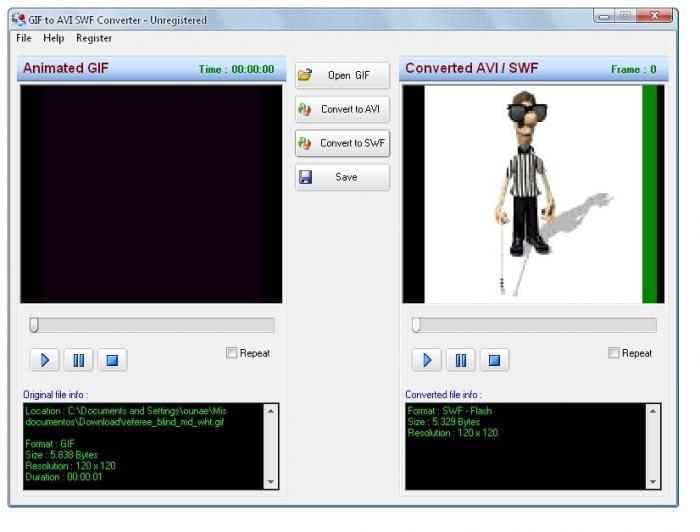 GIF to AVI SWF Converter