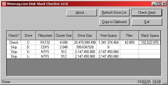 Disk Slack Checker