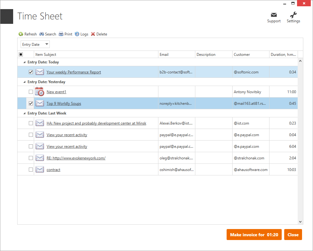 Time Tracker Outlook Add-in