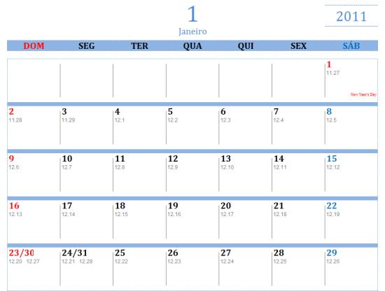 Calendário de 2011