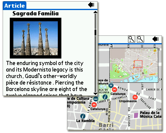 Barcelona DK Eyewitness Top Travel Guide Map For Palm OS - Barcelona map guide