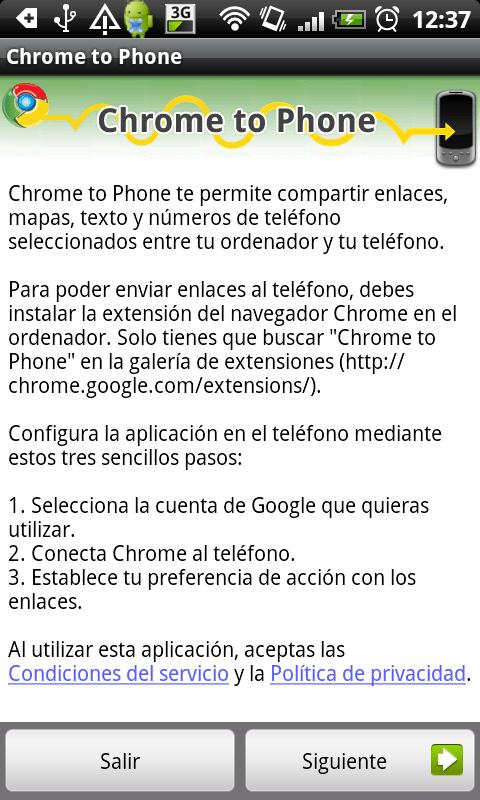 Google Chrome to Phone