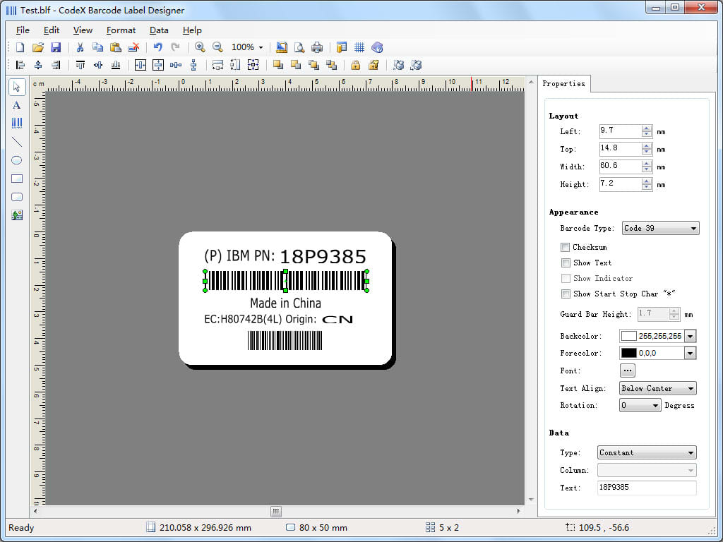 CodeX Barcode Label Maker