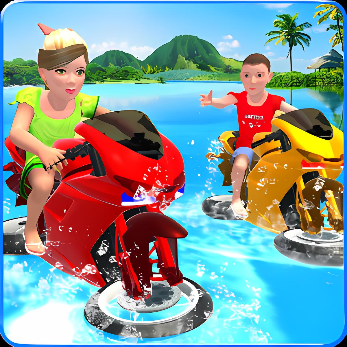Kids Water Surfing Bike Racing