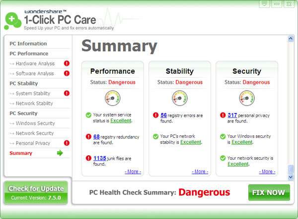 Wondershare 1-Click PC Care