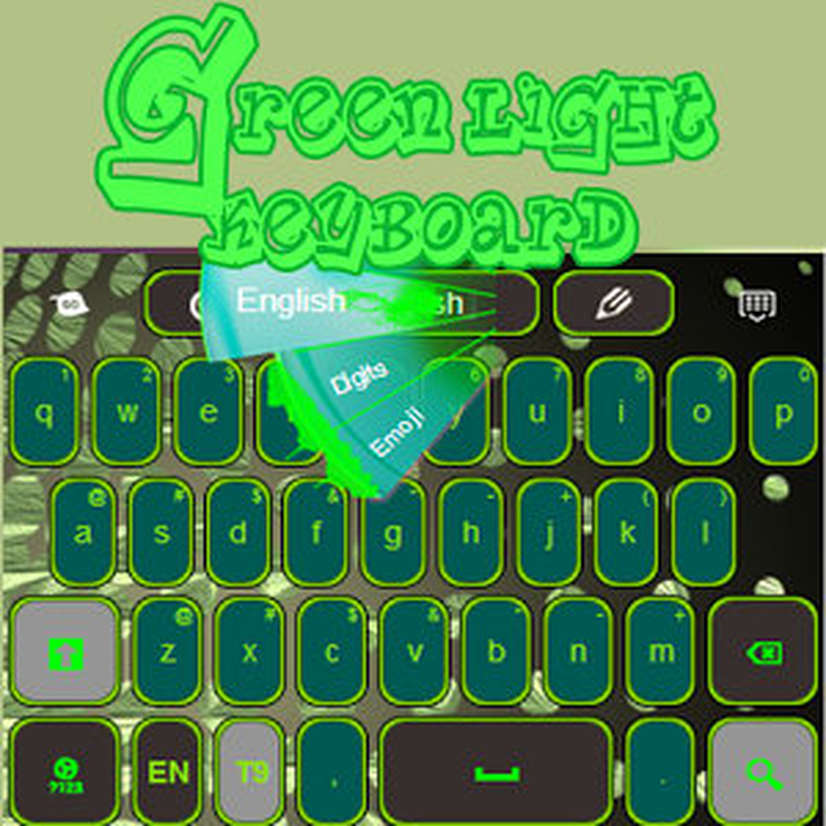 Verde Teclado Luz