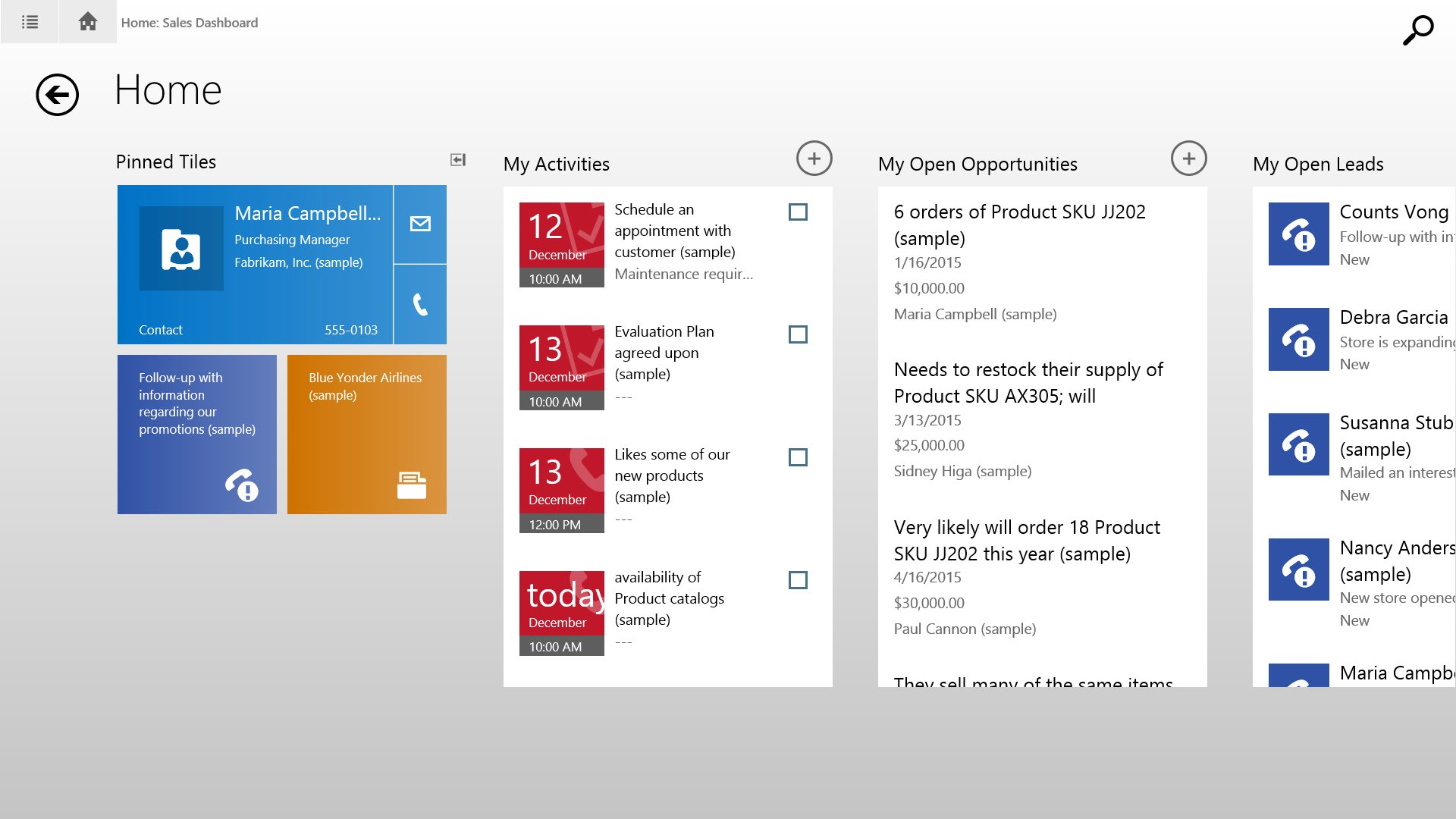 Microsoft Dynamics CRM for Windows 8.1