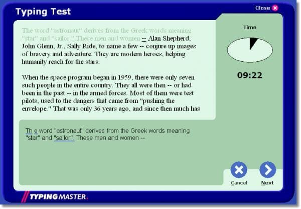 TypingMaster Typing Test