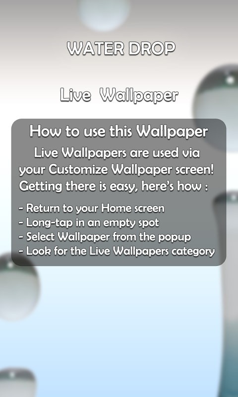 Water Drop 3D Live Wallpaper