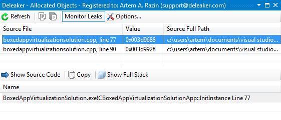 Deleaker Add-in for Visual C++