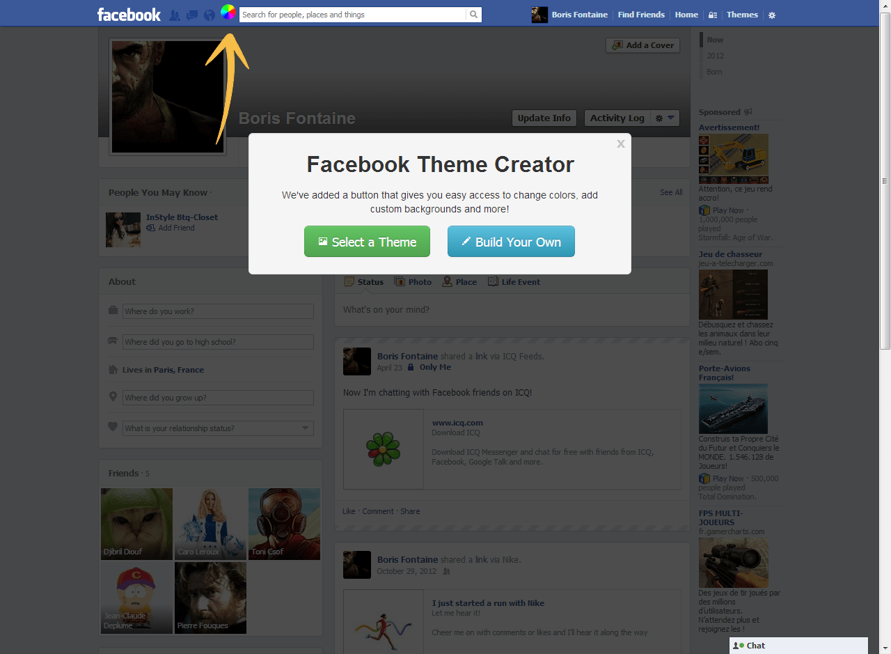 Facebook Theme Creator