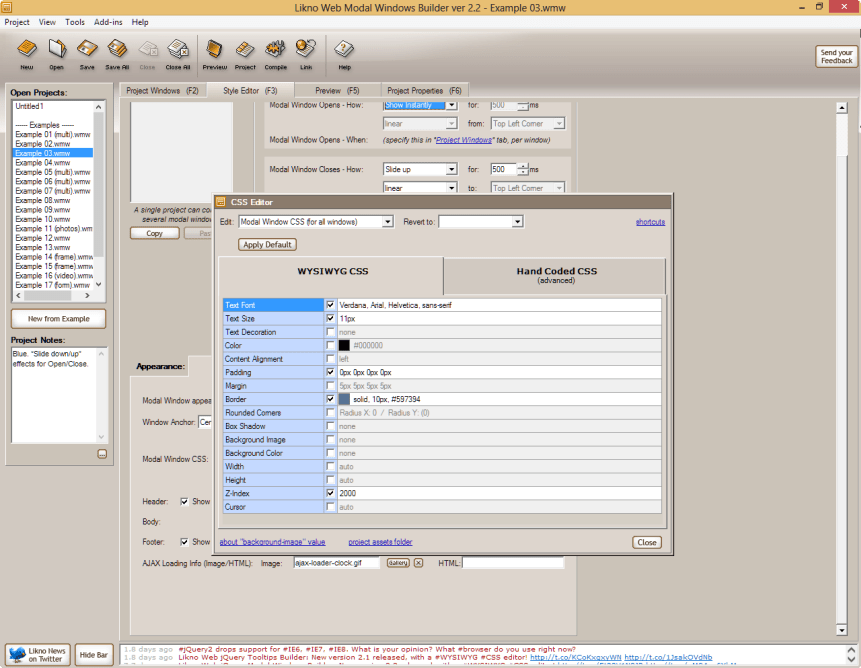 Likno Web Modal Windows Builder