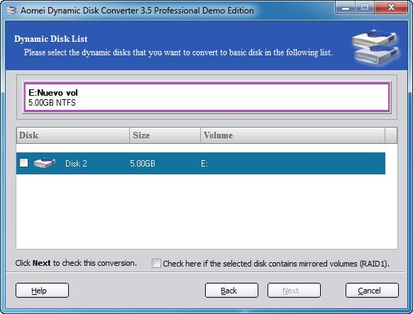 Aomei Dynamic Disk Converter