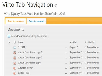 Virto SharePoint JQuery Tab Navigation