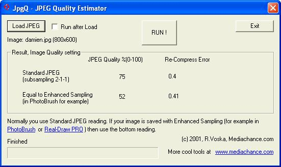JPEG Quality Estimator (jpgQ)