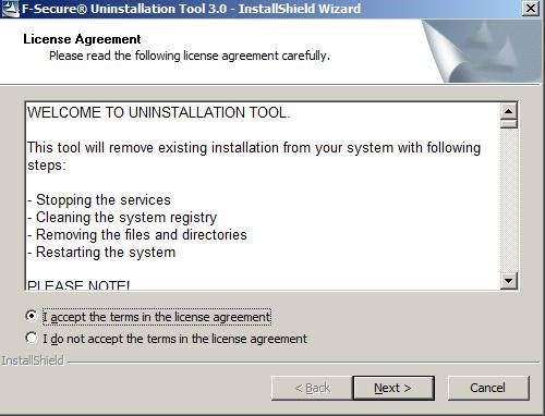 F-Secure Uninstallation Tool