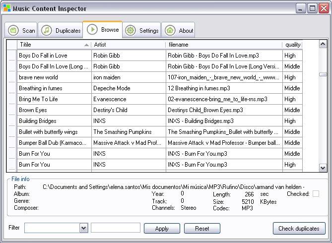 Music Content Inspector