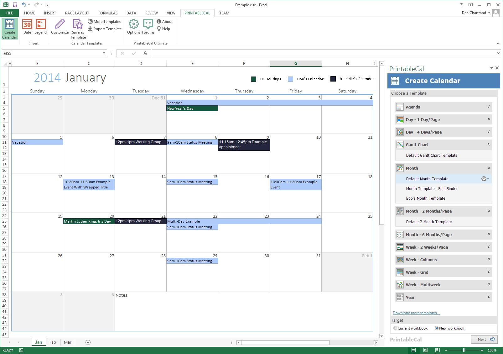 PrintableCal API
