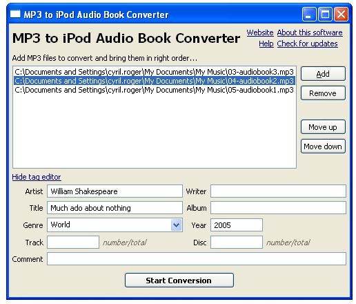 MP3 to iPod Audio Book Converter