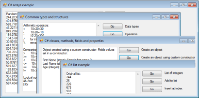 Softwarekv collection of examples for C#