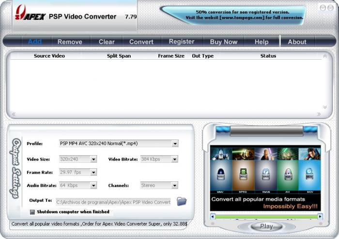Apex PSP Video Converter