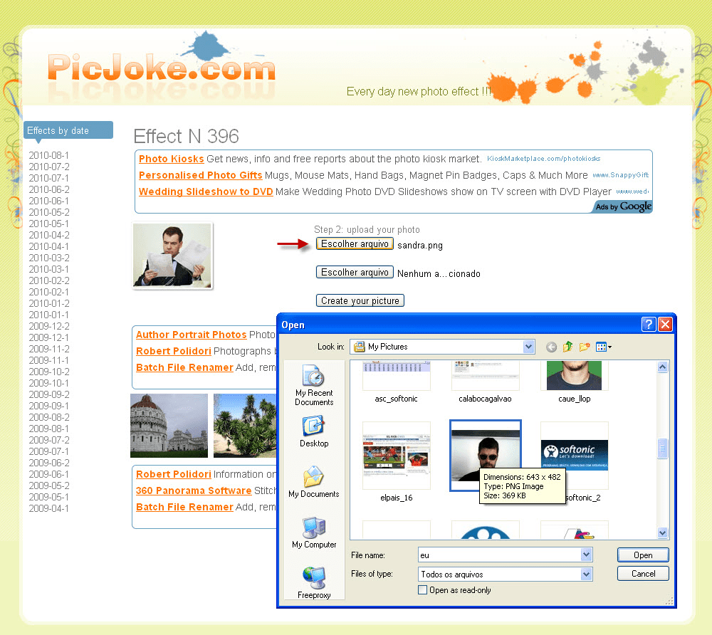 PicJoke.com: Effects, montages and picture frames in two clicks