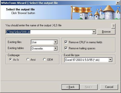 DBF to XLS (Excel) Converter