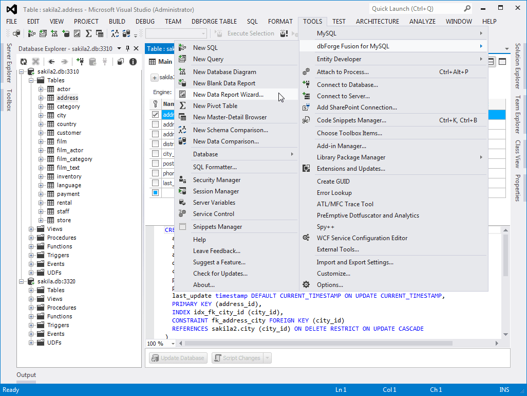 dbForge Fusion for MySQL, Visual Studio Add-in