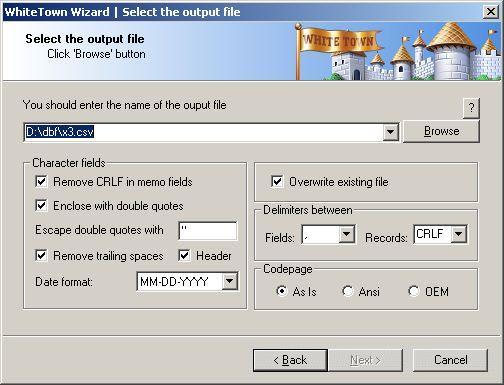 DBF to CSV Converter